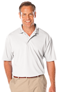MENS TALL SOLID WICKING POLO  -  WHITE EXTRA LARGE TALL SOLID