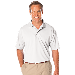 MENS SOLID WICKING POLO  -  WHITE EXTRA SMALL SOLID