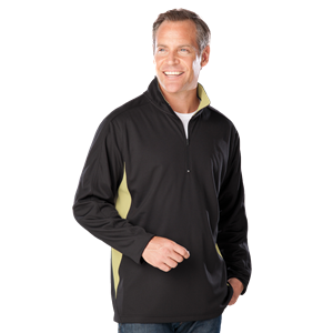 MENS WICKING 1/2 ZIP BLOCKED CO# -  BLACK- VEGAS GOLD LARGE TRIM GOLD