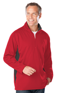MENS WICKING 1/2 ZIP BLOCKED  -  RED EXTRA LARGE TRIM GRAPHITE