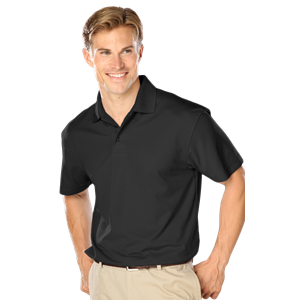 MENS WICKING SOLID SNAG RESIST POLO   -  BLACK EXTRA LARGE SOLID