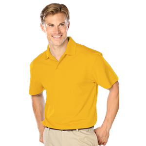 MENS WICKING SOLID SNAG RESIST POLO   -  YELLOW EXTRA LARGE SOLID