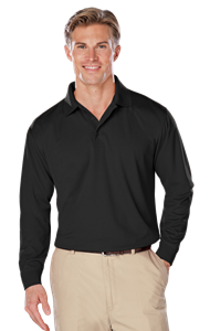 ADULT L/S SNAG RESISTANT MOISTURE WICKING POLO  -  BLACK EXTRA LARGE SOLID