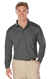 ADULT L/S SNAG RESISTANT MOISTURE WICKING POLO  -  GRAPHITE EXTRA LARGE SOLID