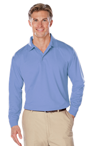 ADULT L/S SNAG RESISTANT MOISTURE WICKING POLO  -  LIGHT BLUE EXTRA LARGE SOLID