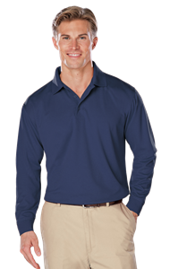 ADULT L/S SNAG RESISTANT MOISTURE WICKING POLO  -  NAVY EXTRA LARGE SOLID