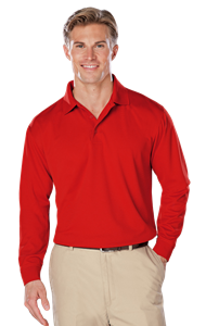 ADULT L/S SNAG RESISTANT MOISTURE WICKING POLO  -  RED EXTRA LARGE SOLID