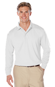 ADULT L/S SNAG RESISTANT MOISTURE WICKING POLO  -  WHITE EXTRA LARGE SOLID