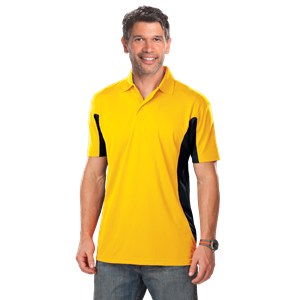 MENS COLOR BLOCK WICKING  -  YELLOW EXTRA LARGE TRIM BLACK