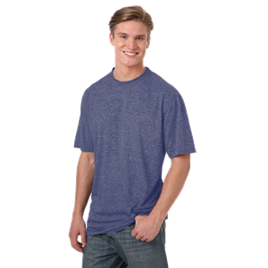 MEN'S HEATHERED WICKING TEE  -  HEATHER NAVY SMALL SOLID