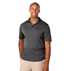 MEN'S HEATHERED WICKING POLO  -  HEATHER BLACK EXTRA LARGE SOLID
