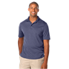 MENS HEATHERED WICKING POLO  -  HEATHER NAVY SMALL SOLID