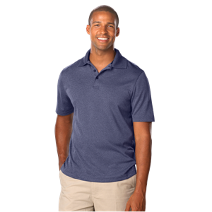 MEN'S HEATHERED WICKING POLO  -  HEATHER NAVY SMALL SOLID
