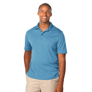 MEN'S HEATHERED WICKING POLO  -  HEATHER TURQUOISE EXTRA LARGE SOLID