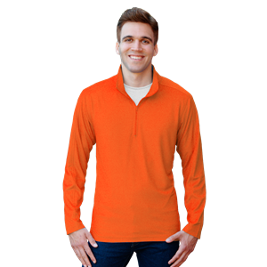 MENS WICKING SOLID 1/4 ZIP LS PULLOVER  -  SAFETY ORANGE SMALL SOLID