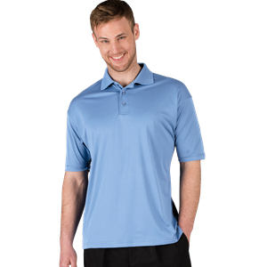 MEN'S ULTRA LUX POLO  -  LIGHT BLUE SMALL SOLID