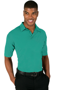 MEN'S NAILHEAD S/S POLO  -  JADE EXTRA SMALL TRIM WHITE