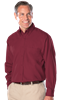 MENS LONG SLEEVE EASY CARE TALL POPLIN WITH MATCHING BUTTONS  -  BURGUNDY EXTRA LARGE TALL SOLID