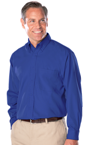 MENS LONG SLEEVE EASY CARE TALL POPLIN WITH MATCHING BUTTONS  -  ROYAL EXTRA LARGE TALL SOLID
