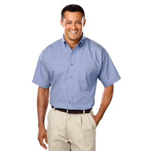 MENS SHORT SLEEVE EASY CARE POPLIN WITH MATCHING BUTTONS  -  LIGHT BLUE EXTRA LARGE SOLID