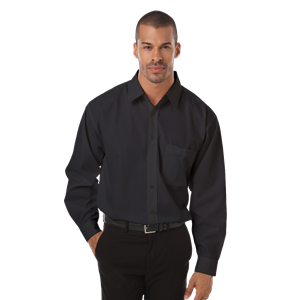 MEN'S L/S POPLIN BISTRO SHIRT  -  BLACK EXTRA LARGE SOLID