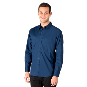 MENS SUPERBLEND POPLIN L/S UNTUCKED SHIRT  -  NAVY SMALL SOLID
