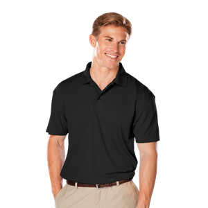 MEN'S TALL VALUE MOISTURE WICKING S/S POLO  -  BLACK EXTRA LARGE TALL SOLID