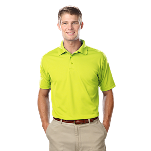 MEN'S VALUE MOISTURE WICKING S/S POLO -  OPTIC YELLOW SMALL SOLID