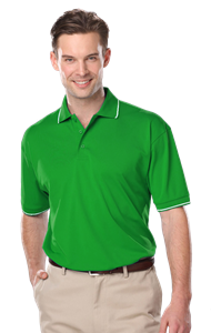 MENS WICKING PIPED POLO  -  KELLY 5 EXTRA LARGE SOLID