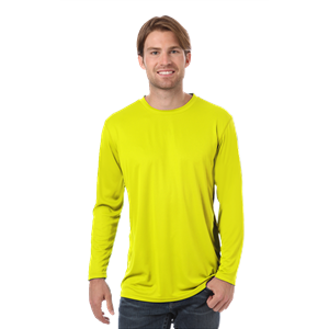 ADULT VALUE L/S WICKING TEE  -  OPTIC YELLOW EXTRA EXTRA SMALL SOLID
