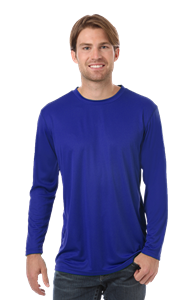 ADULT VALUE L/S WICKING TEE  -  ROYAL EXTRA EXTRA SMALL SOLID