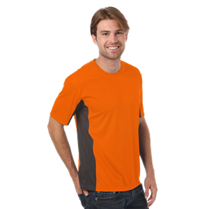 MEN'S COLORBLOCK WICKING TEE  -  SAFETY ORANGE SMALL SOLID