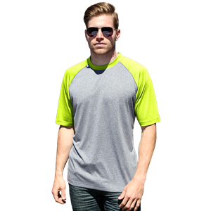 ADULT COLOR BLOCK WICKING T  -  OPTIC YELLOW EXTRA EXTRA SMALL SOLID