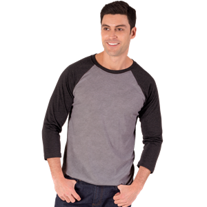 ADULT TRIBLEND 3/4 SLEEVE BASEBALL CREW NECK  -  BLACK EXTRA SMALL TRIM GREY