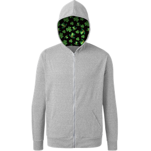 St. Patrick's Triblend Contrast Zip Front Hoodie LIGHT GREY EXTRA SMALL SOLID