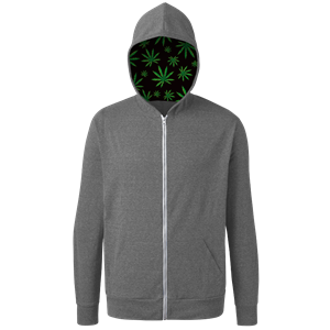 Cannabis Triblend Contrast Zip Front Hoodie GREY EXTRA SMALL SOLID