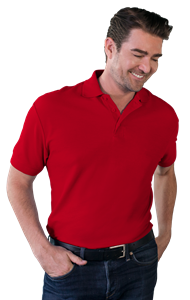 MENS VALUE SOFT TOUCH PIQUE POLO  -  RED EXTRA LARGE SOLID