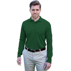 ADULT SOFT TOUCH LONG SLEEVE POLO CO# -  HUNTER EXTRA LARGE SOLID