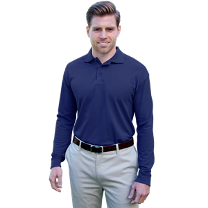 ADULT SOFT TOUCH LONG SLEEVE POLO -  NAVY EXTRA LARGE SOLID