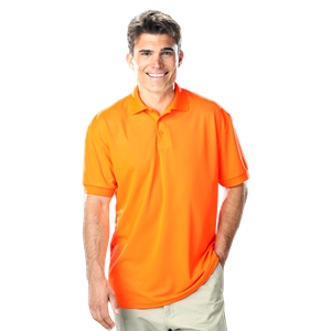MEN'S HIGH VISIBILITY PIQUE POLO SOLID  -  ORANGE EXTRA LARGE SOLID