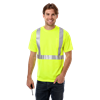 ADULT HIGH VIS/REFLECTIVE TAPE WICKING TEE  -  OPTIC YELLOW EXTRA LARGE SOLID