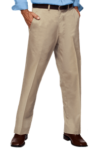 MENS FLAT FRONT TEFLON TREATED TWILL PANTS  -  KHAKI OPEN BOTTOM WAIST 52