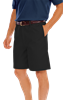 MENS FLAT FRONT TEFLON TREATED TWILL SHORTS  -  BLACK LENGTH 8 INCH WAIST 52