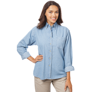 LADIES LONG SLEEVE PREMIUM DENIM  -  FADED BLUE EXTRA LARGE SOLID