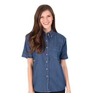 LADIES SHORT SLEEVE PREMIUM DENIM  -  VINTAGE BLUE EXTRA SMALL SOLID