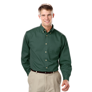 MENS LONG SLEEVE 100% COTTON TWILL CO#  -  FOREST 8 EXTRA LARGE  SOLID