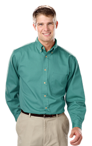 MENS LONG SLEEVE 100% COTTON TWILL  -  JADE EXTRA SMALL  SOLID