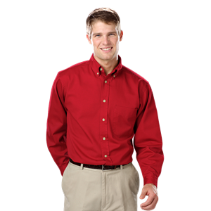 MENS LONG SLEEVE 100% COTTON TWILL  -  RED EXTRA SMALL  SOLID