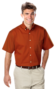 MENS SHORT SLEEVE 100% COTTON TWILL -  BURNT ORANGE EXTRA SMALL SOLID