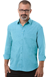MEN'S L/S UNTUCKED WITH POCKET AQUA EXTRA LARGE SOLID